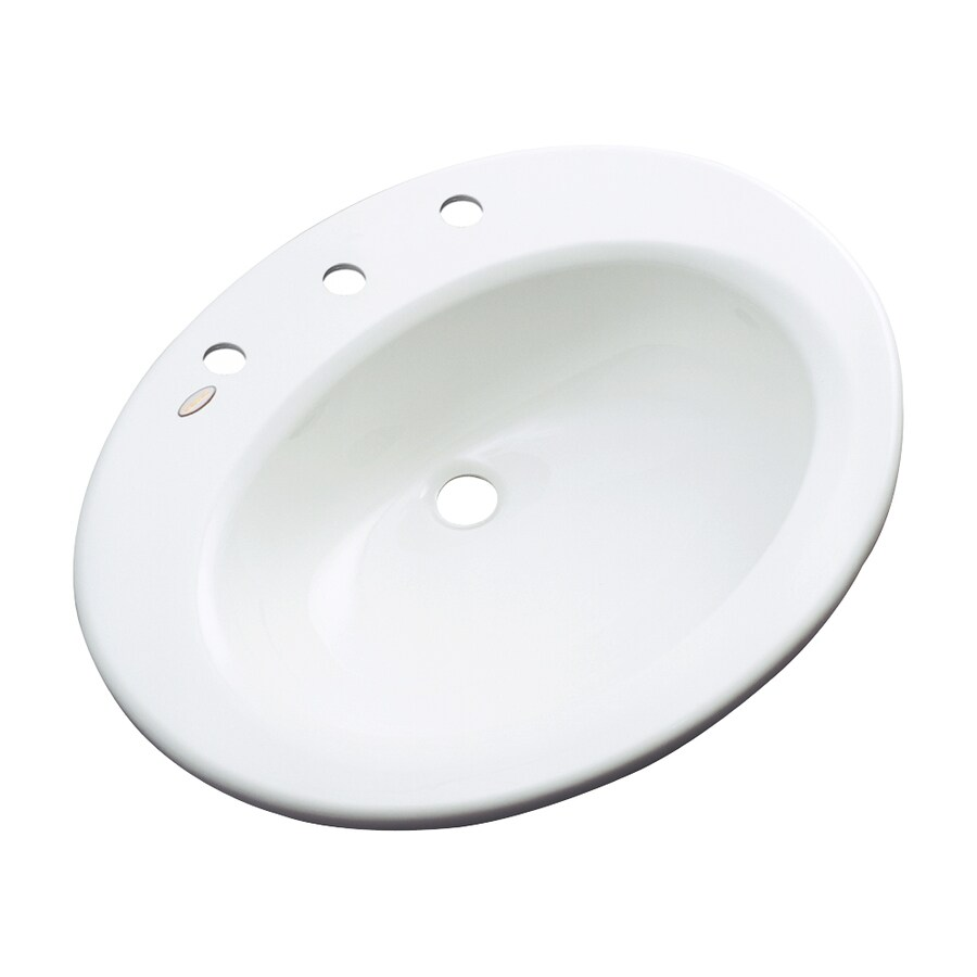 Dekor Avalon White Composite Drop-In Oval Bathroom Sink with Overflow