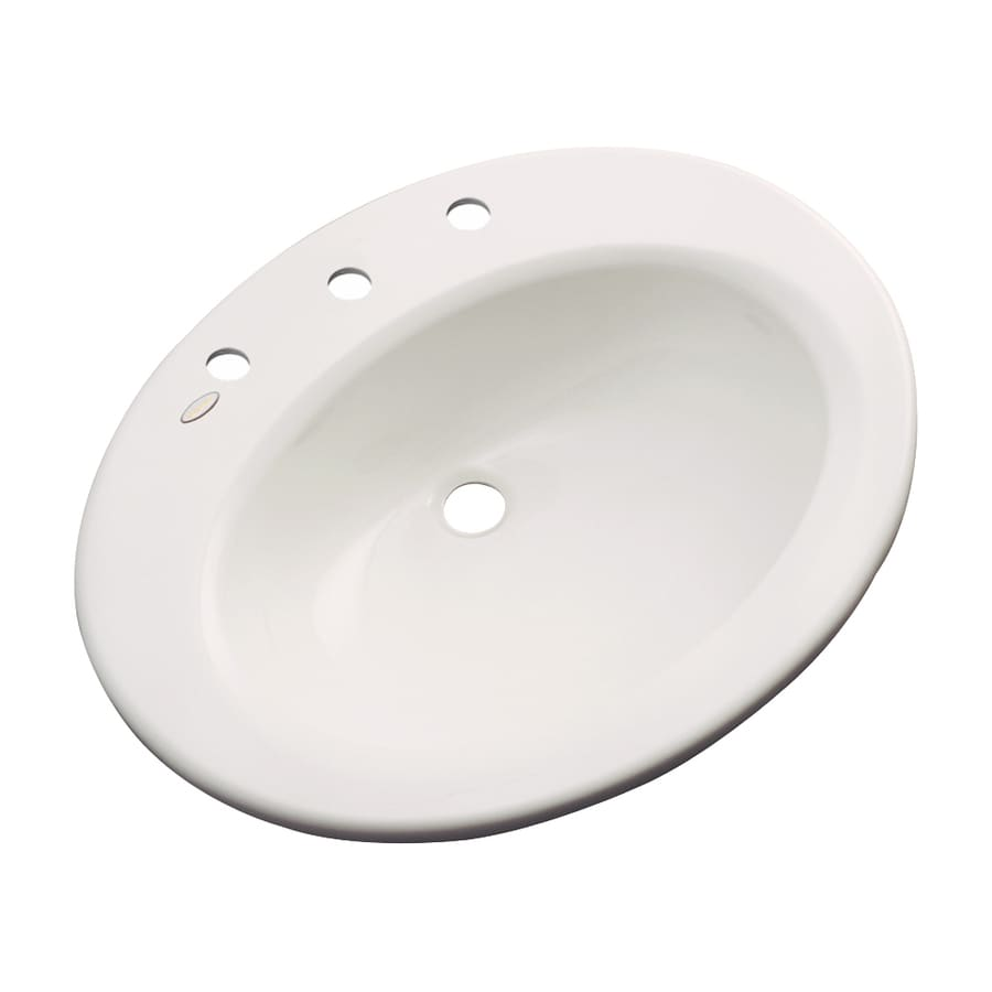 Dekor Avalon Almond Composite Drop-In Oval Bathroom Sink with Overflow