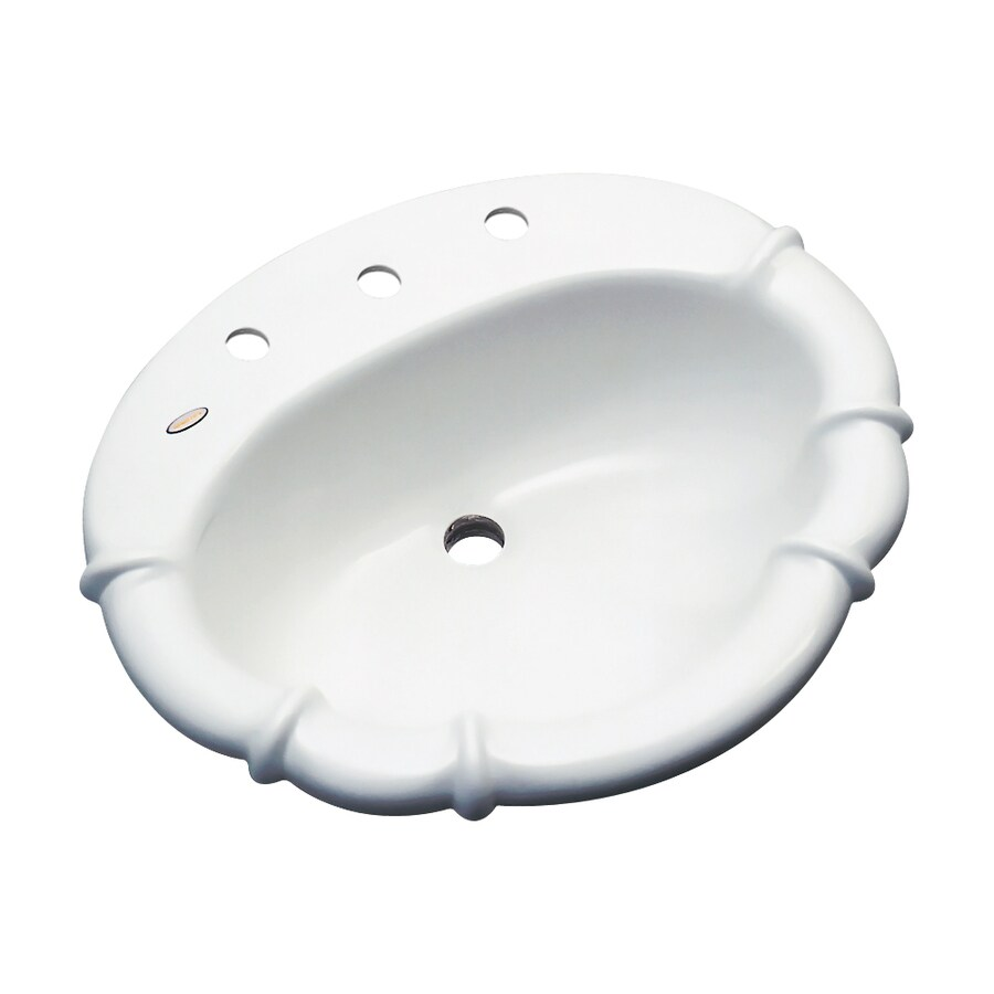Dekor Montrose White Composite Drop-In Oval Bathroom Sink with Overflow