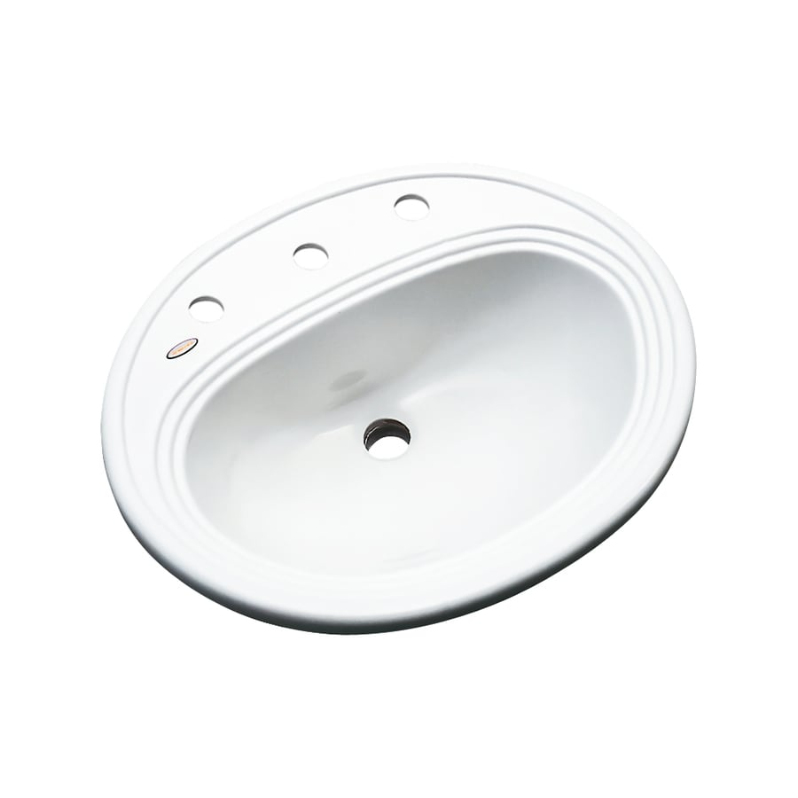 Dekor Vail White Composite Drop-In Oval Bathroom Sink with Overflow