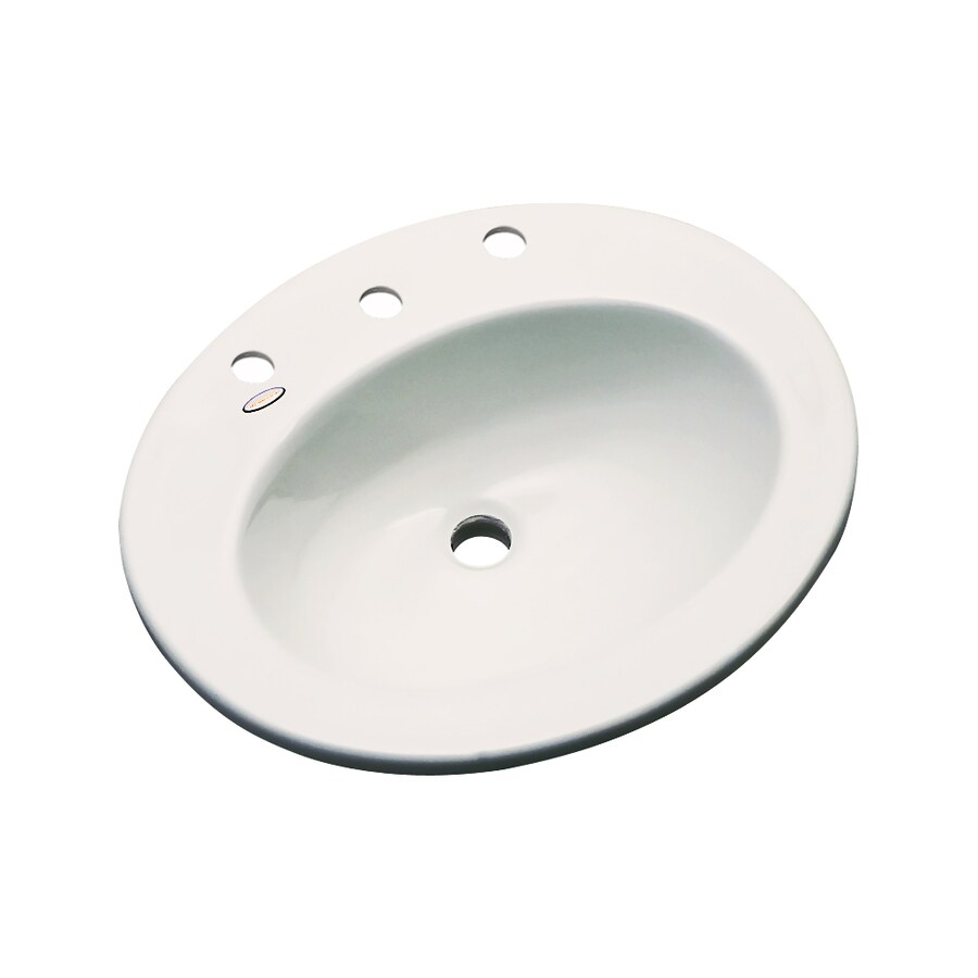 Dekor Belmont Almond Composite Drop-In Oval Bathroom Sink with Overflow