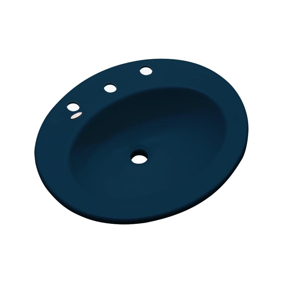 Dekor Belmont Navy Blue Composite Drop-In Oval Bathroom Sink with Overflow