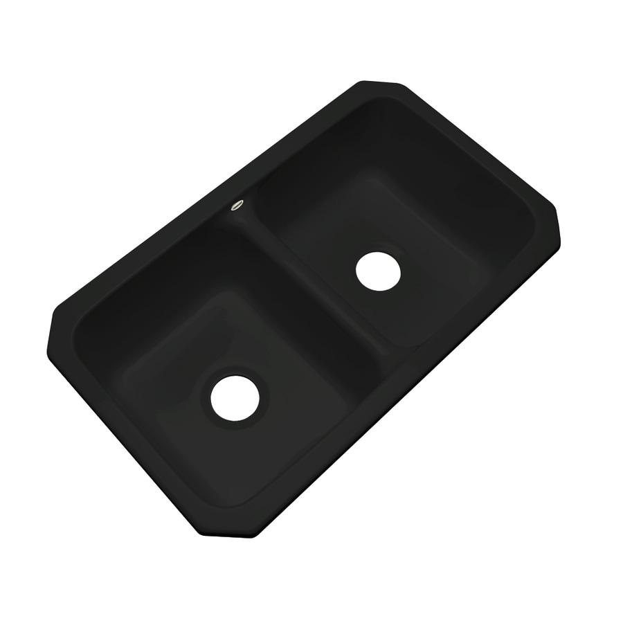 Dekor Master 18.25-in x 33-in Black Double-Basin Acrylic Undermount Residential Kitchen Sink