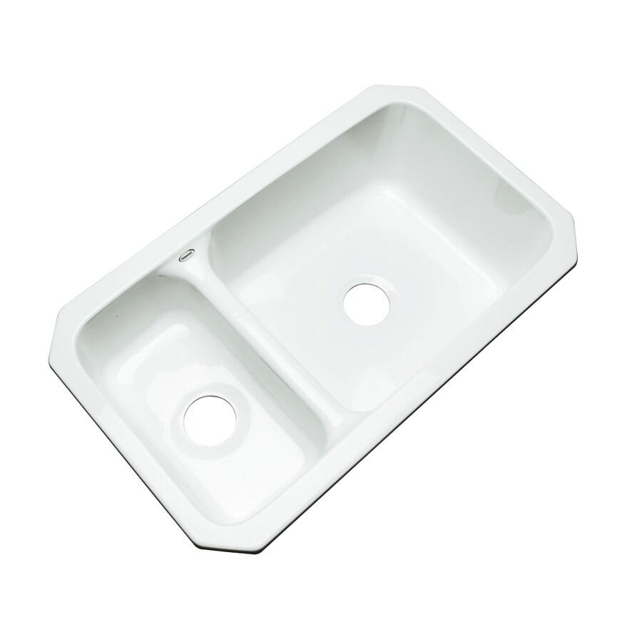 Dekor Master 18.25-in x 33-in White Double-Basin Acrylic Undermount Residential Kitchen Sink