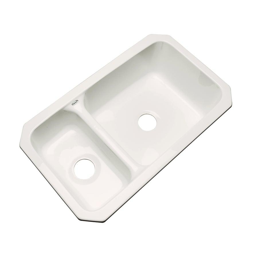 Dekor Master 18.25-in x 33-in Bone Double-Basin Acrylic Undermount Residential Kitchen Sink