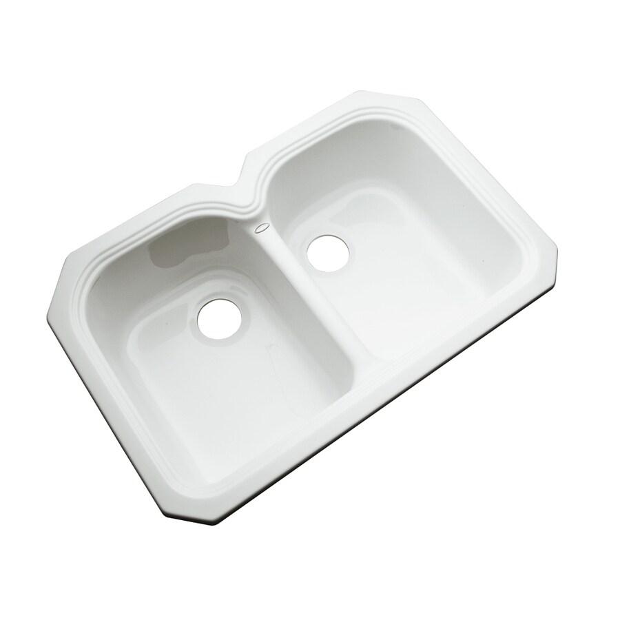 Dekor Master 22-in x 33-in White Double-Basin Acrylic Undermount Residential Kitchen Sink
