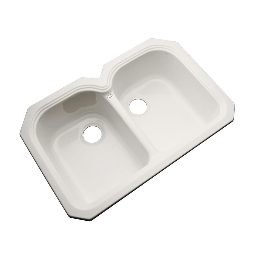 Dekor Master 21.5-in x 32.5-in Almond Double-Basin Acrylic Undermount Residential Kitchen Sink