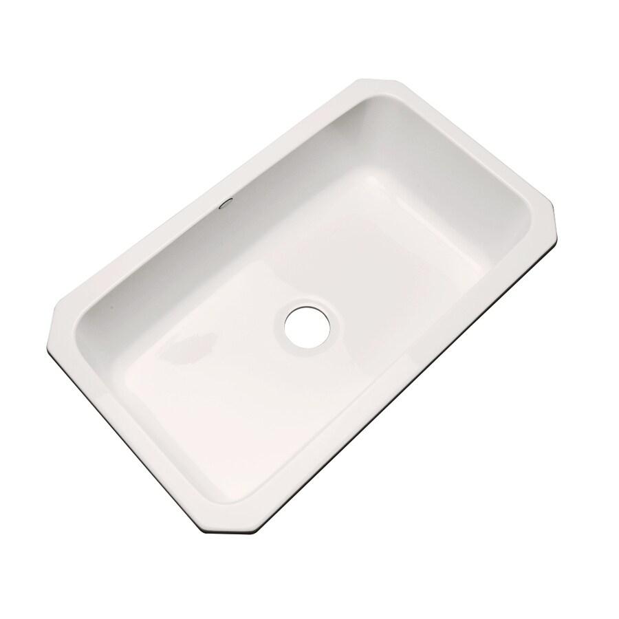 Dekor Master 21.5-in x 32.5-in Bone Single-Basin Acrylic Undermount Residential Kitchen Sink