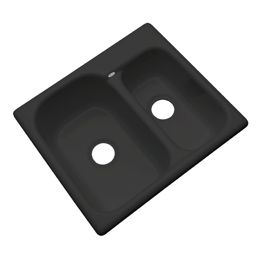 Dekor Master 21-in x 25-in Black Double-Basin Acrylic Undermount Residential Kitchen Sink