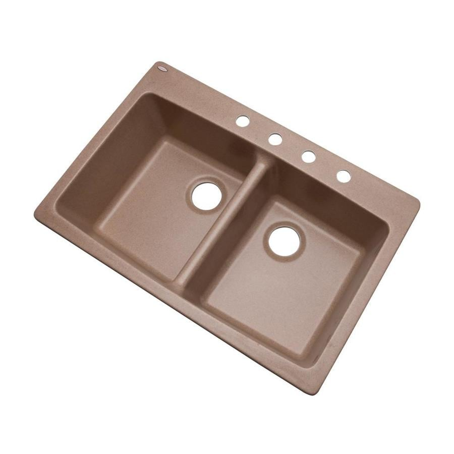 Shop Dekor Master 22 In X 33 In Natural Double Basin Granite Drop In Or Undermount 4 Hole
