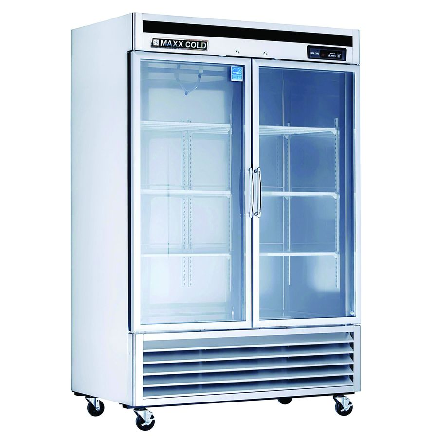 shop maxx cold 49 cu ft commercial freezerless refrigerator stainless with glass door at lowes