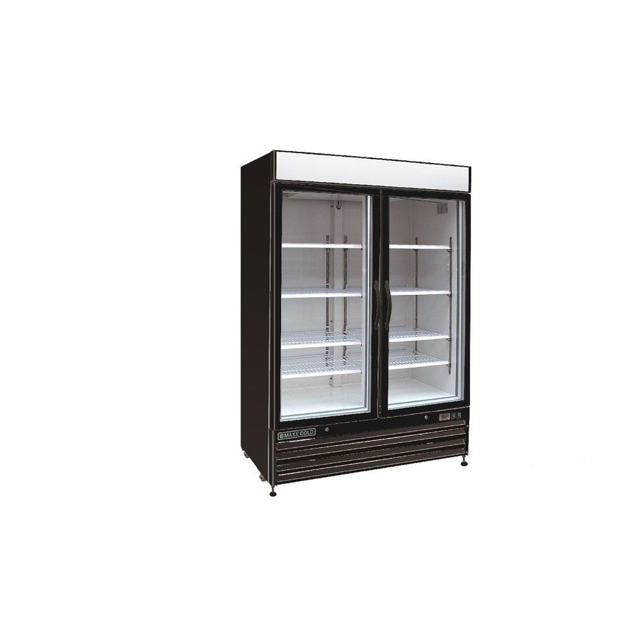 Maxx Cold 48-cu ft 2-Door Freezerless Commercial Refrigerator (Black and Glass)