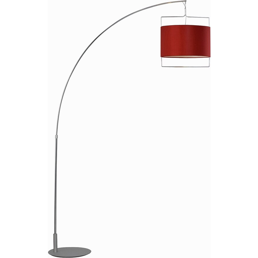 Pyramid Creations 88-in Satin Nickel / Polished Chrome Torchiere Indoor Floor Lamp with Fabric Shade