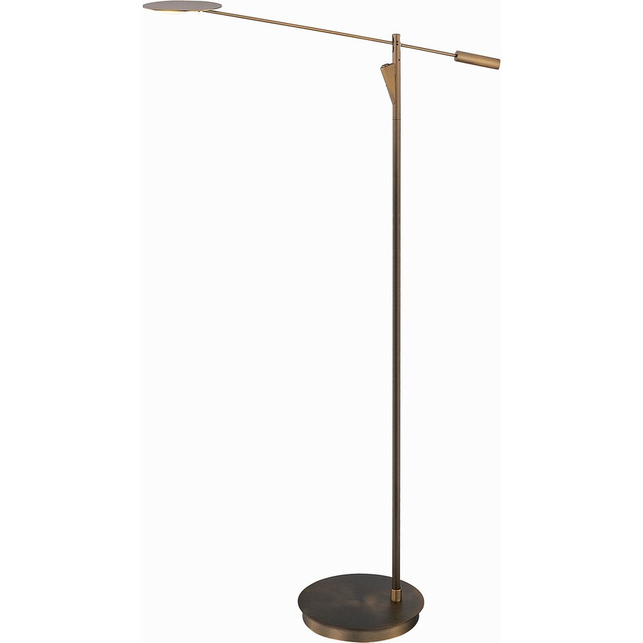 bronze led torchiere indoor floor lamp with shade shade at. Black Bedroom Furniture Sets. Home Design Ideas