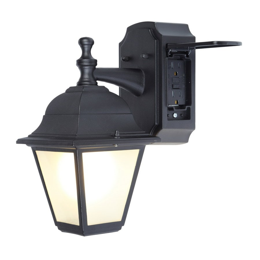 Wall Mounted Lamp With Outlet : Shop Portfolio GFCI 11.81-in H Black Outdoor Wall Light at Lowes.com
