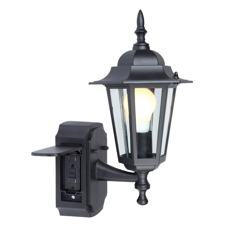 Wall Mounted Lamp With Outlet : Shop Portfolio GFCI 15.75-in H Black Outdoor Wall Light at Lowes.com