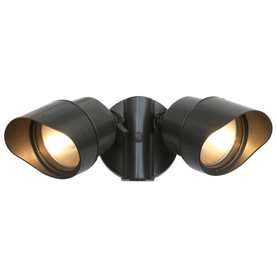 Utilitech 4.125-in 2-Head Halogen Aged Bronze Switch-Controlled Flood Light
