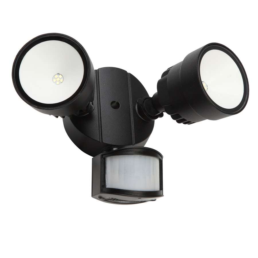 Utilitech Pro 110-Degree 2-Head Black LED Motion-Activated Flood Light with Timer