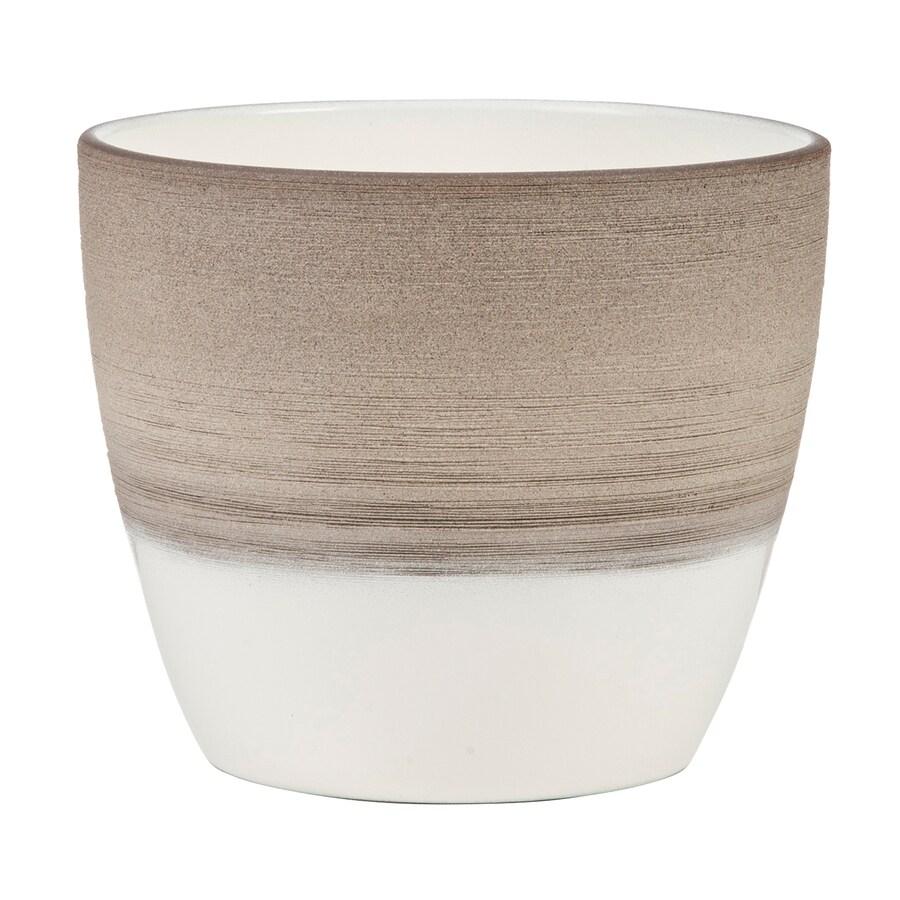 6.3-in x 5.8-in Espresso Cream Ceramic English Planter