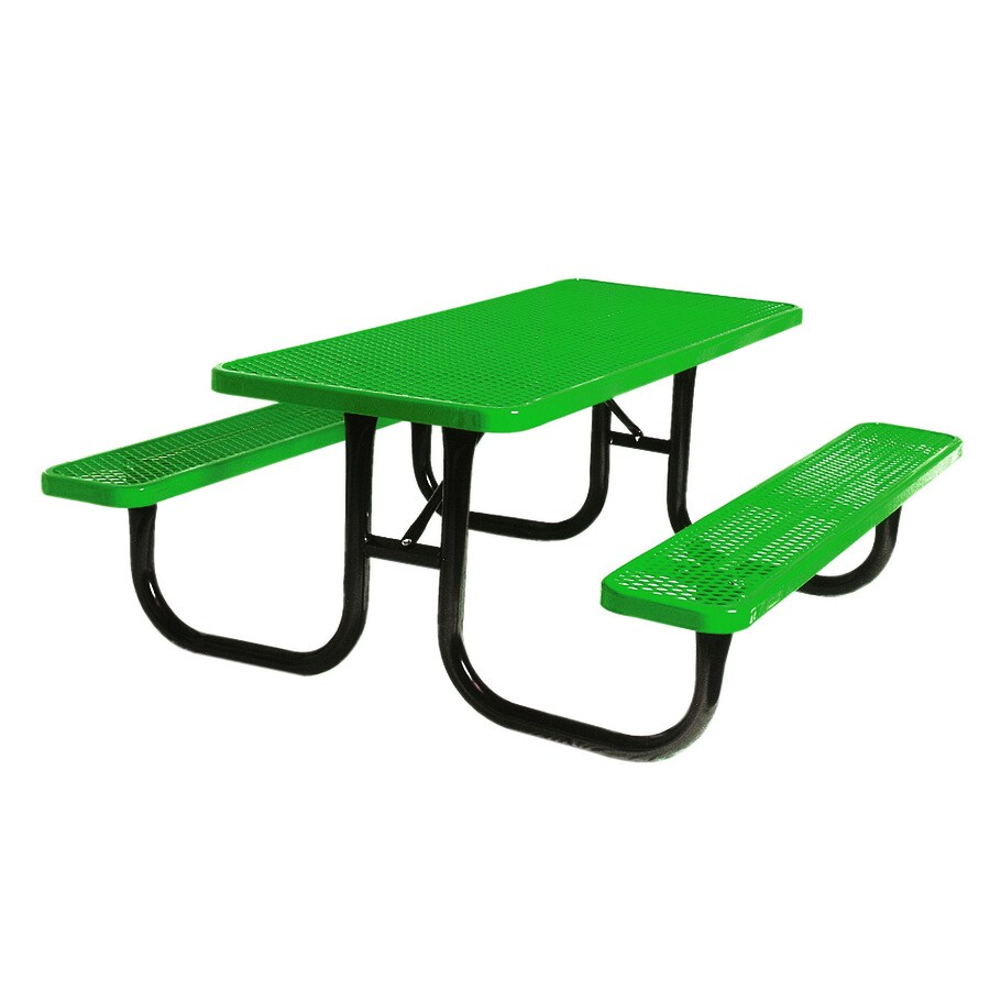 Ultra Play 96-in Green Steel Rectangle Picnic Table