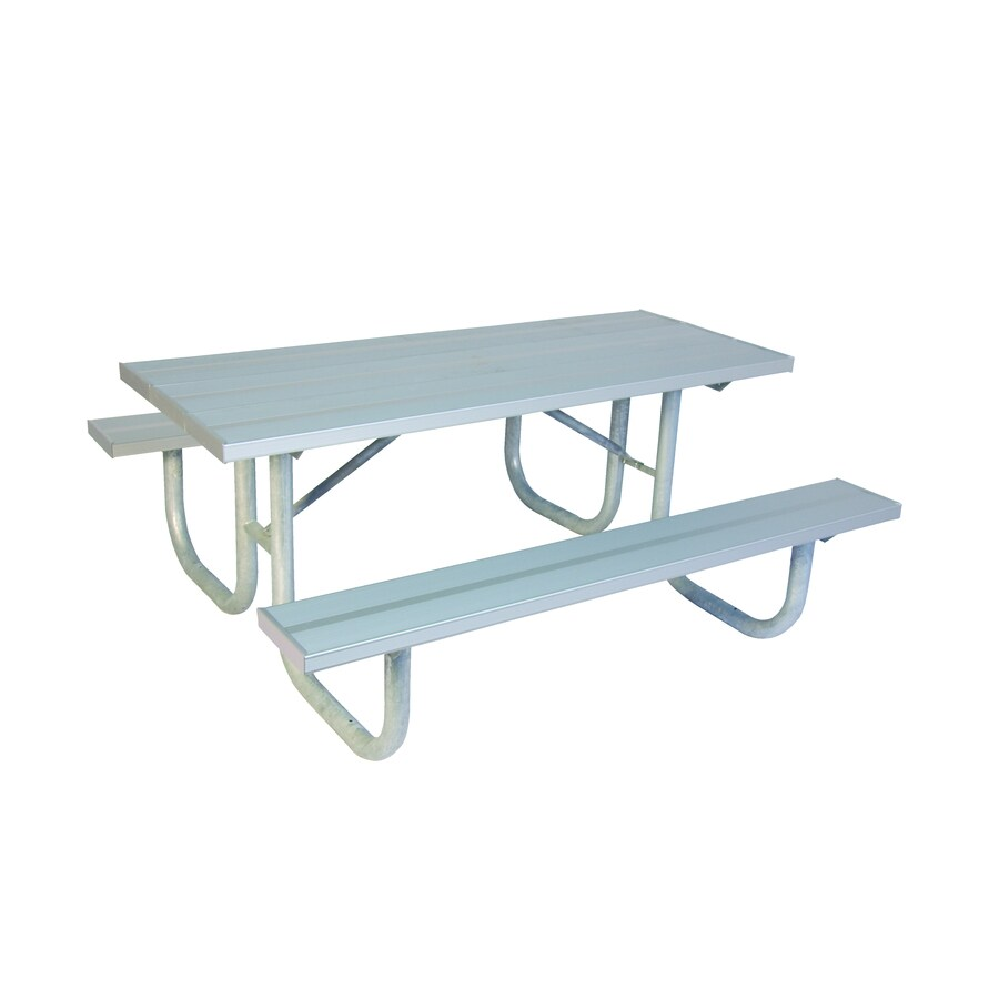 Ultra Play 96-in Silver Extruded Aluminum Rectangle Picnic Table