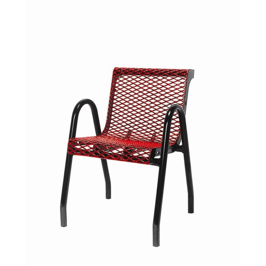 Ultra Play 22-in L x 24-in D x 32-in H UltraCoat Series Steel Thermoplastic Coated Red Planks with Black Powder Coated Frame Park Chair