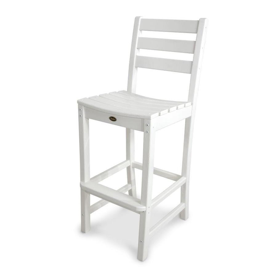 Trex Outdoor Furniture Monterey Bay Classic White Plastic Patio Barstool Chair