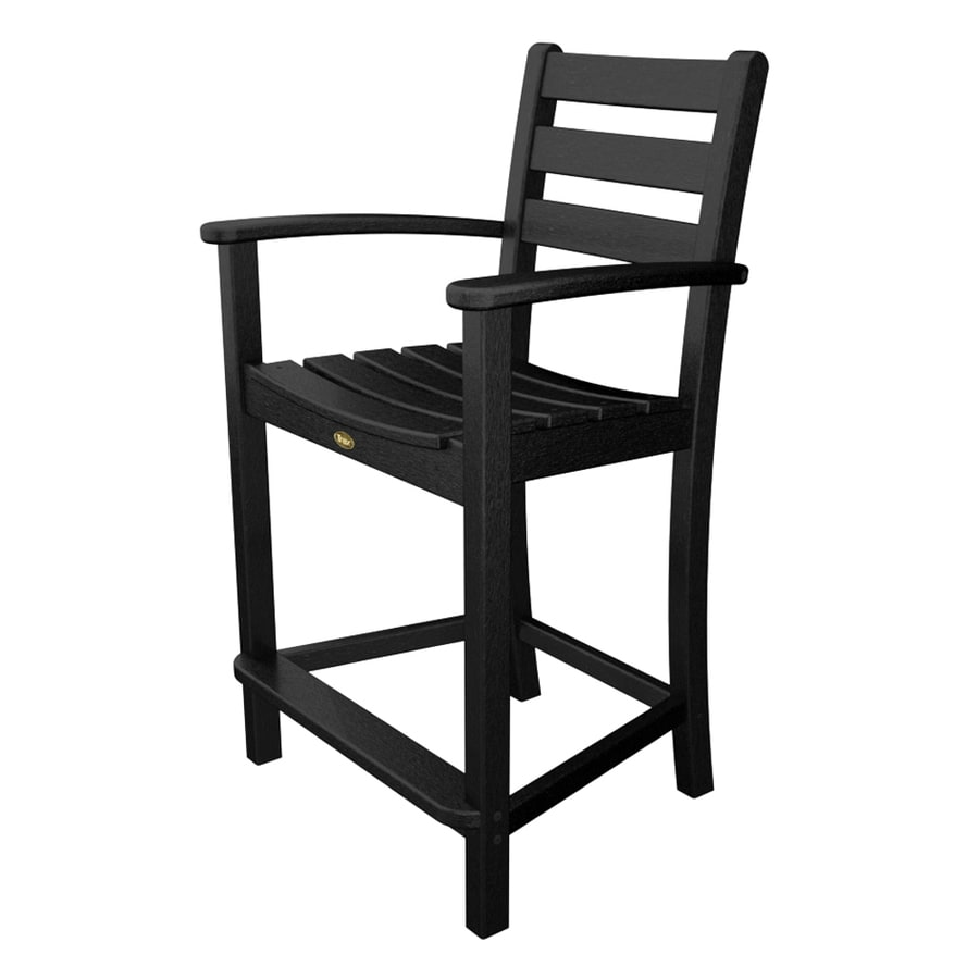Trex Outdoor Furniture Monterey Bay Charcoal Black Plastic Patio Dining Chair