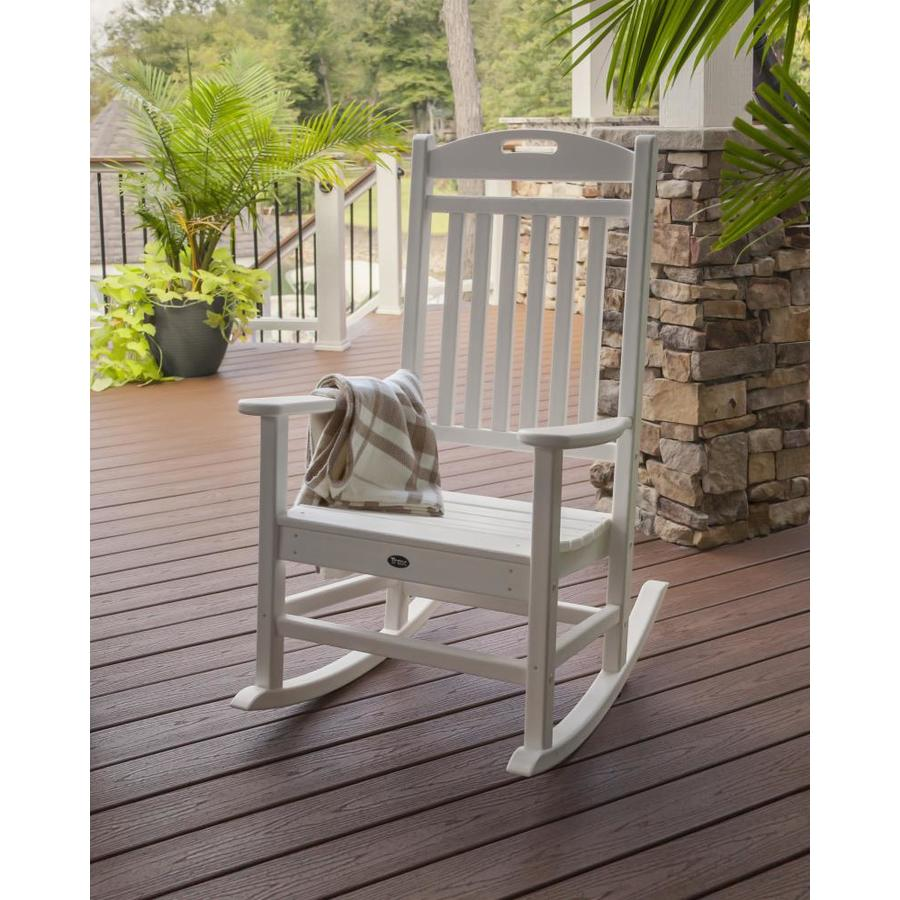 Trex Outdoor Furniture Yacht Club Classic White Plastic Patio Rocking Chair