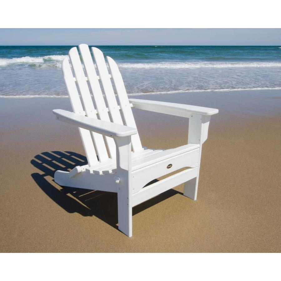 shop trex outdoor furniture cape cod classic white plastic folding patio adirondack chair at