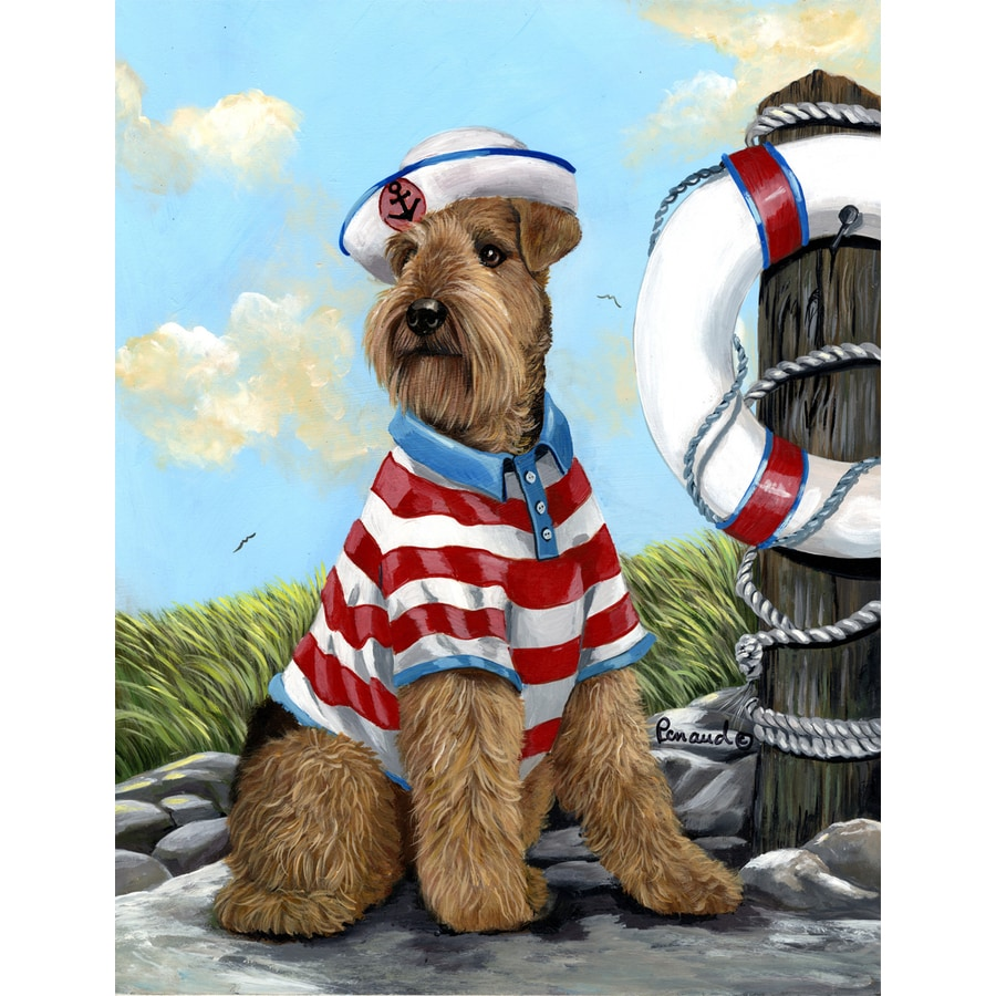 Precious Pet Paintings 1.5-ft x 1.04-ft Airedale Terrier Beach Flag