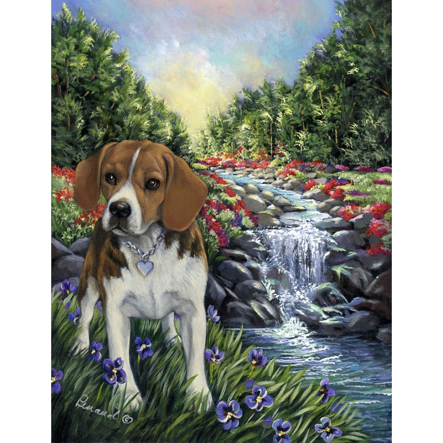 Precious Pet Paintings 1.5-ft x 1.04-ft Beagle Spring Flag