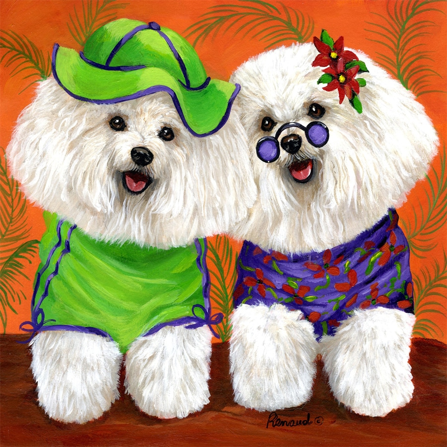 Precious Pet Paintings 1.5-ft x 1.04-ft Bichon Frise Flag