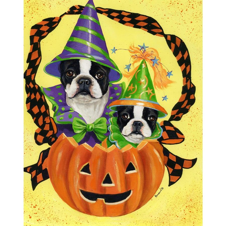 Precious Pet Paintings 1.5-ft x 1.04-ft Boston Terrier Halloween Flag