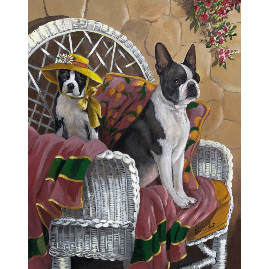 Precious Pet Paintings 1.5-ft x 1.04-ft Boston Terrier Spring Flag