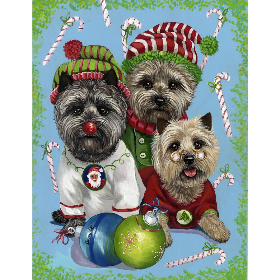 Precious Pet Paintings 1.5-ft x 1.04-ft Cairn Terrier Christmas Flag