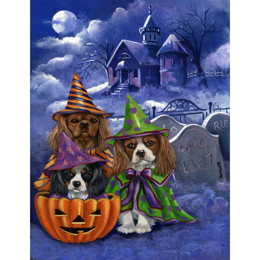 Precious Pet Paintings 1.5-ft x 1.04-ft Cavalier King Charles Spaniel Halloween Flag