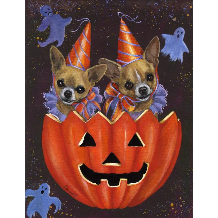Precious Pet Paintings 1.5-ft x 1.04-ft Chihuahua Halloween Flag