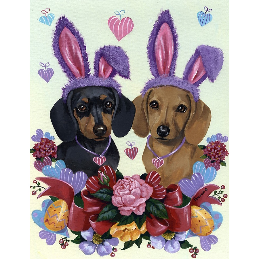 Precious Pet Paintings 1.5-ft x 1.04-ft Dachshund Easter Flag