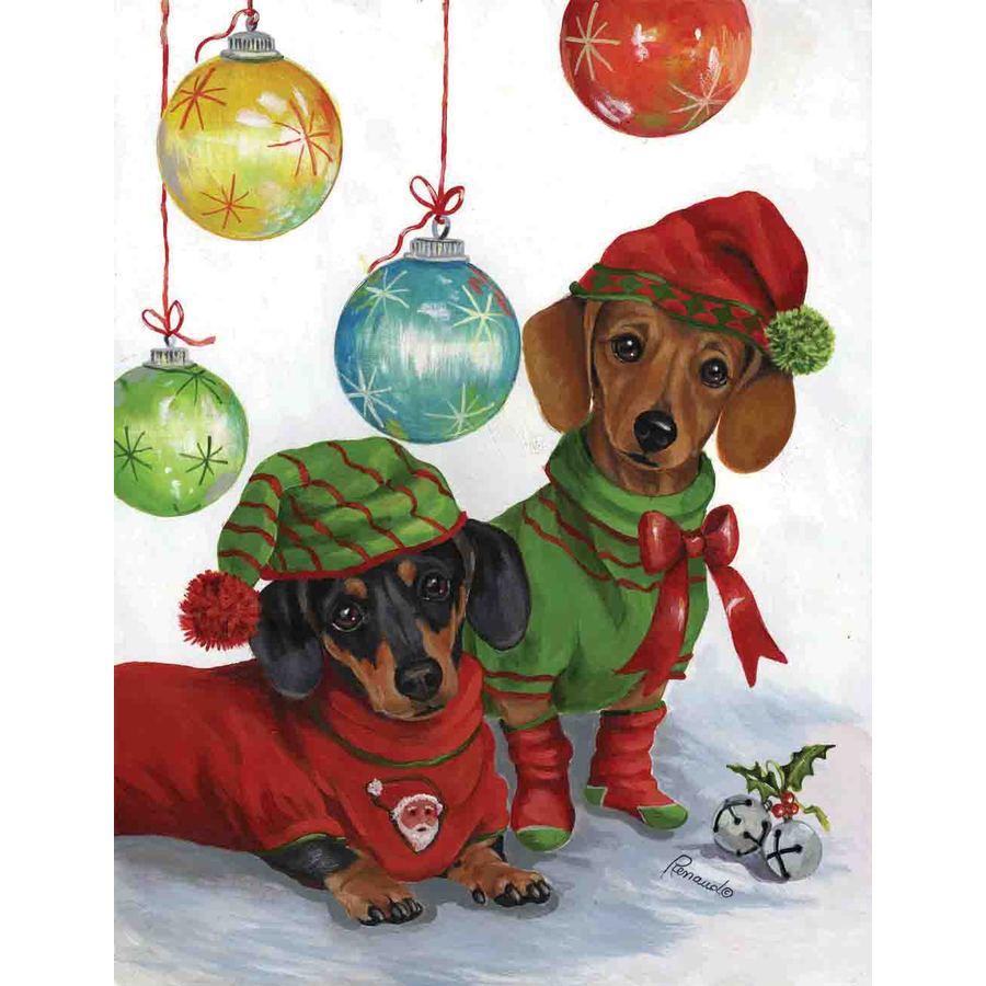 Precious Pet Paintings 1.5-ft x 1.04-ft Dachshund Christmas Flag