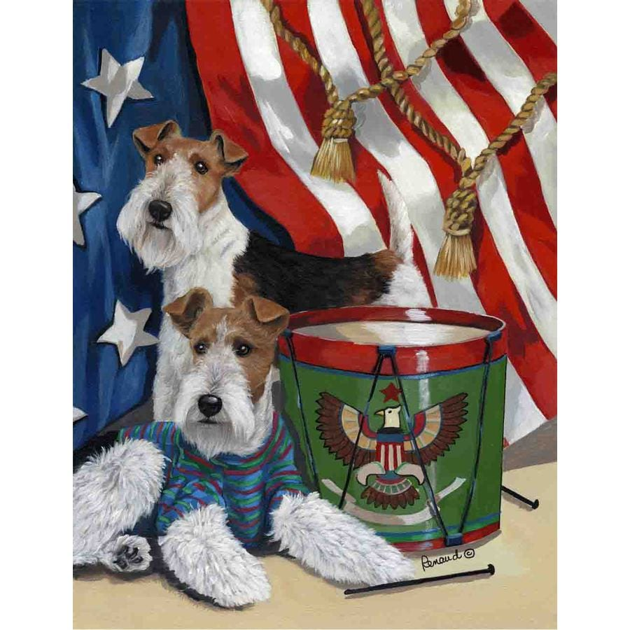 Precious Pet Paintings 1.5-ft x 1.04-ft Fox Terrier 4th of July Flag