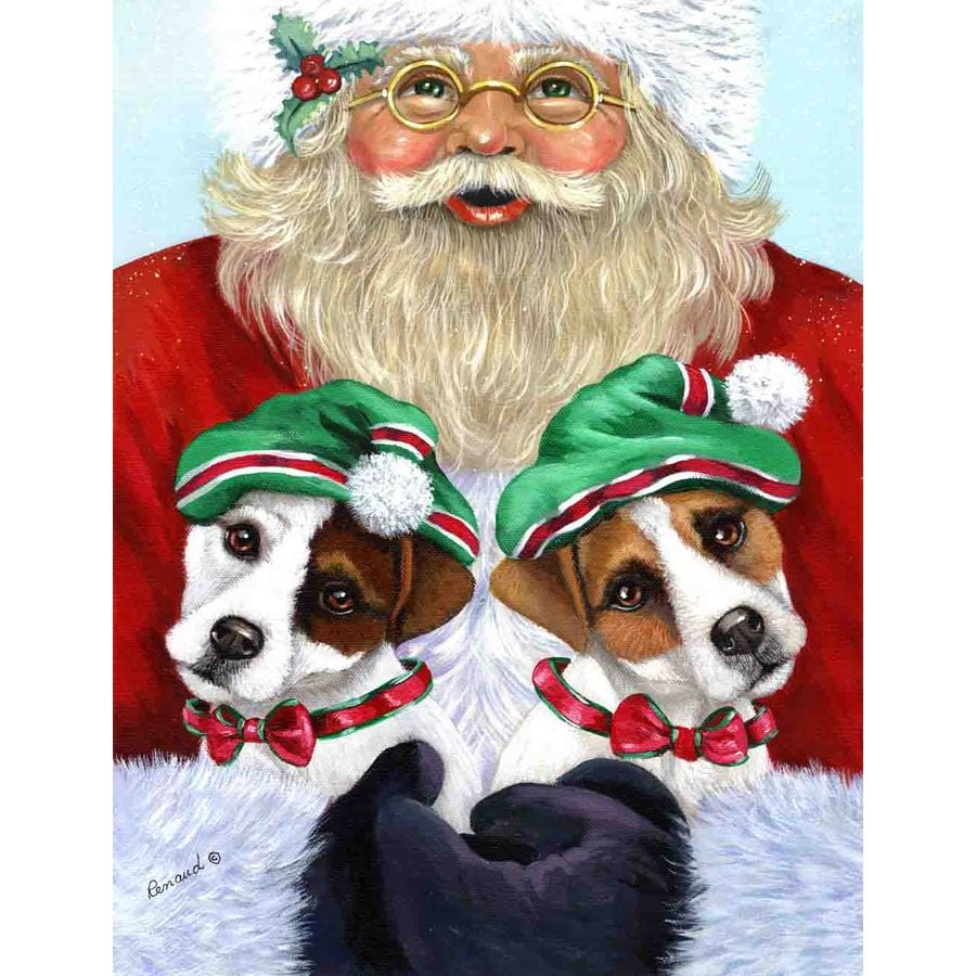 Precious Pet Paintings 1.5-ft x 1.04-ft Jack Russell Christmas Flag