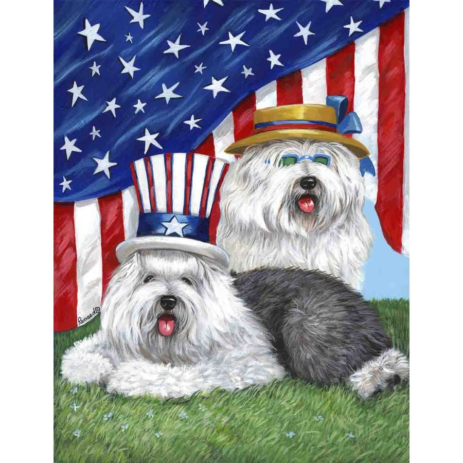 Precious Pet Paintings 1.5-ft x 1.04-ft Old English Sheepdog 4th of July Flag