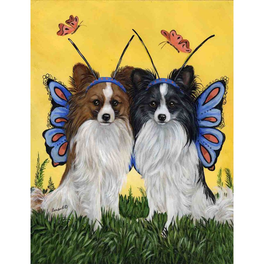 Precious Pet Paintings 1.5-ft x 1.04-ft Papillon Spring Flag