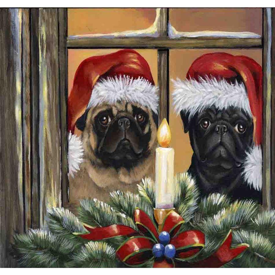 Precious Pet Paintings 1.5-ft x 1.04-ft Pug Christmas Flag