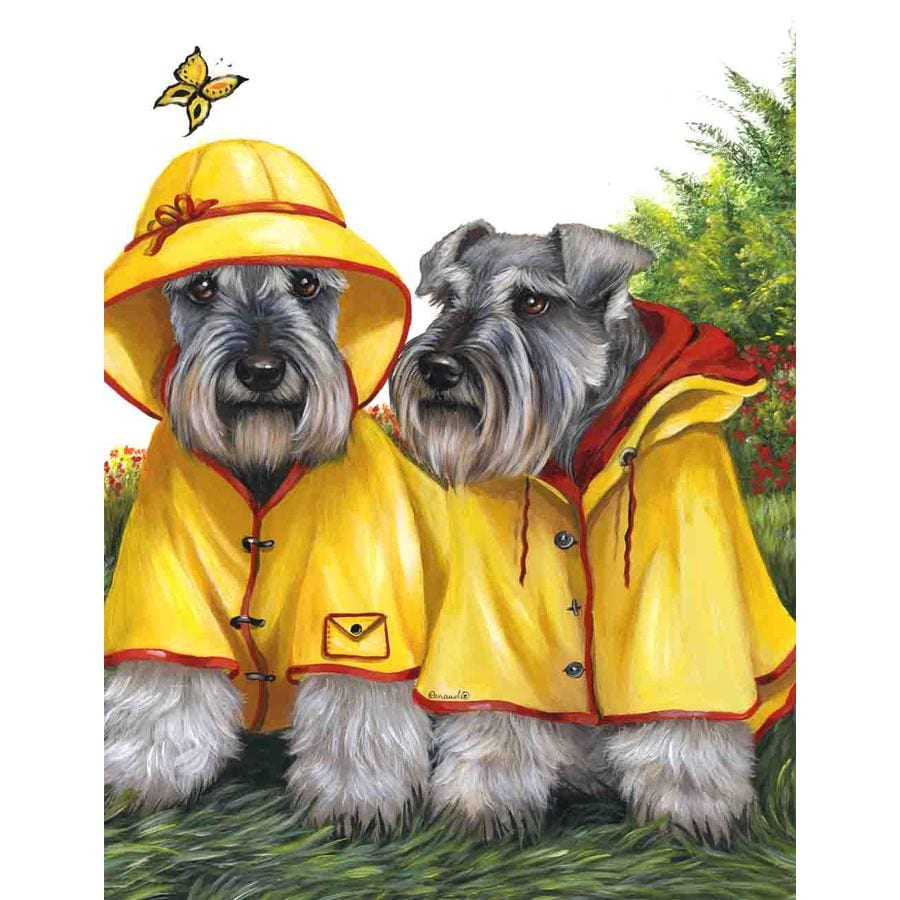 Precious Pet Paintings 1.5-ft x 1.04-ft Schnauzer Spring Flag