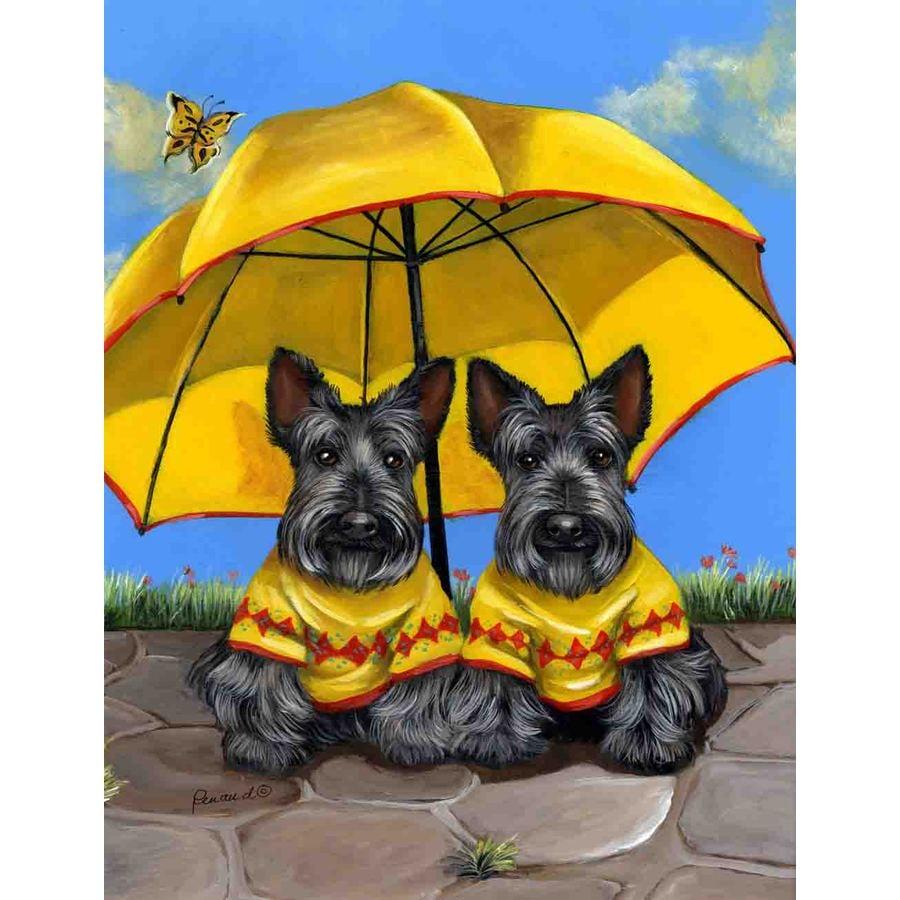 Precious Pet Paintings 1.5-ft x 1.04-ft Scottish Terrier Spring Flag