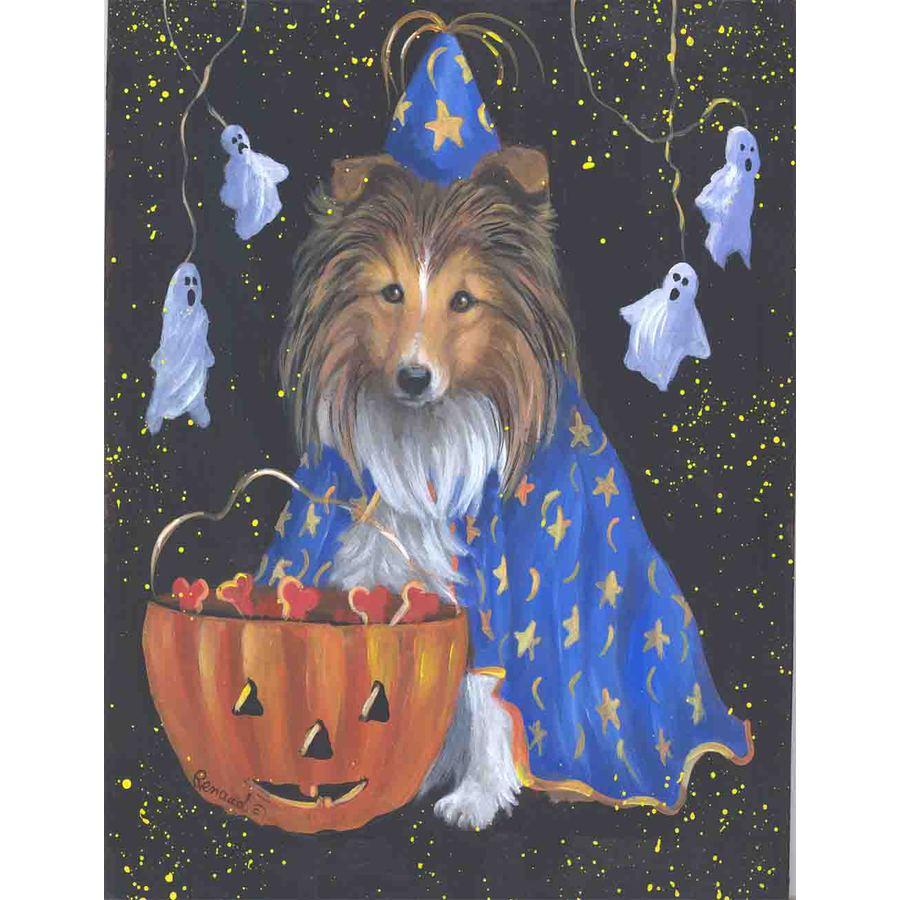 Precious Pet Paintings 1.5-ft x 1.04-ft Shetland Sheepdog Halloween Flag