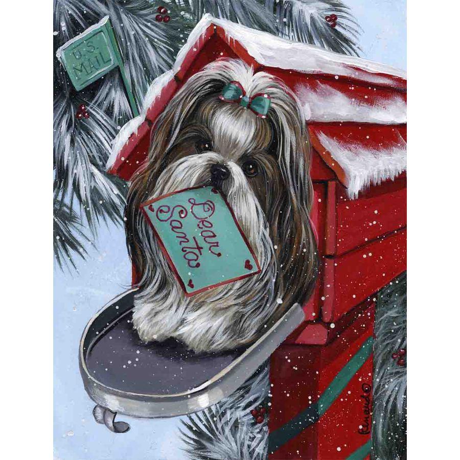 Precious Pet Paintings 1.5-ft x 1.04-ft Shih Tzu Christmas Flag