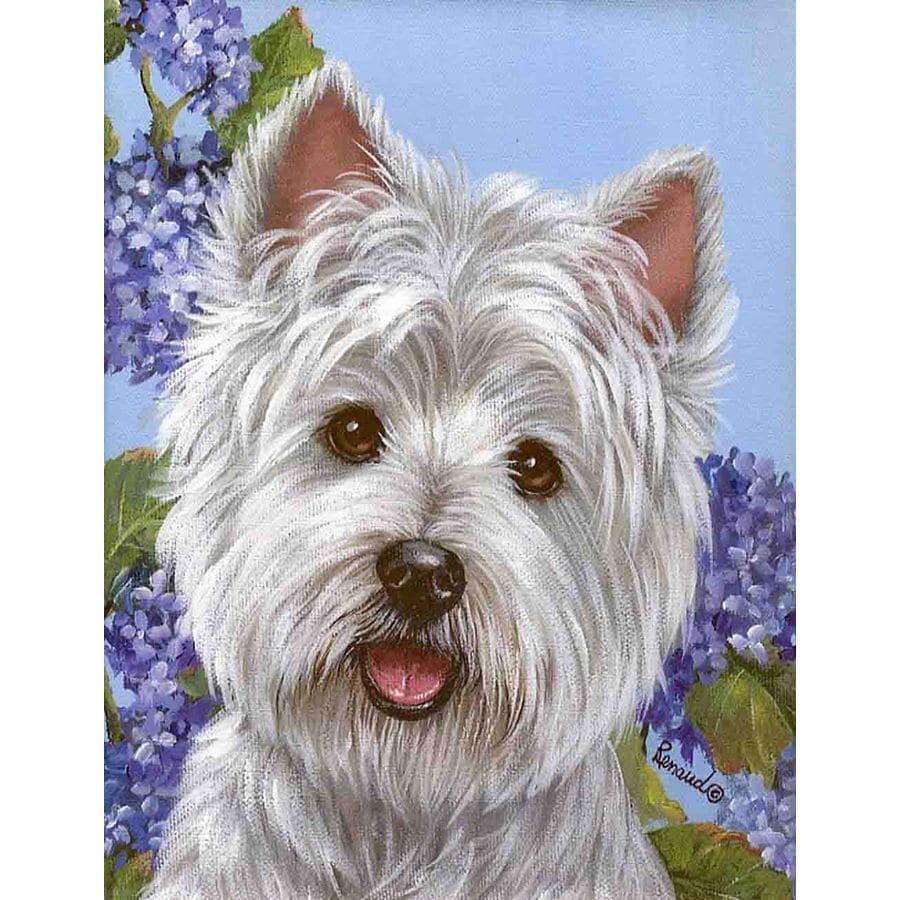 Precious Pet Paintings 1.5-ft x 1.04-ft West Highland Terrier Spring Flag